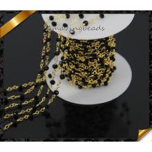 Qualitäts-Schwarz-Glasperlen-Kettenhalskette, Rosenkranz-Goldkette (JD011)