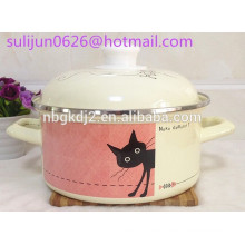 Enamelware soup pan pot with enamel handle and lid plastic knob with full decal