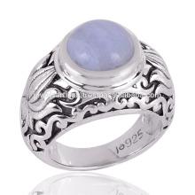 Beautiful Blue Lace Agate set middle in Silver Design Rign au meilleur prix