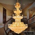 Iluminação de suspensão de suspensão da lâmpada do candelabro das grandes escadas de cristal grandes do hotel
