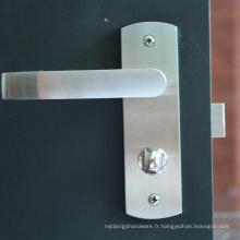 Chine fournisseur levier de porte bouton de serrure de poignée ensemble satin pour entrée porte en bois
