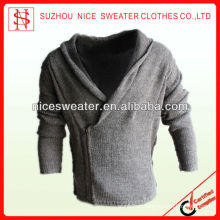 Shawl collar long sleeves Mens right zipper cardigan
