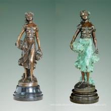 Женский Арт-Рисунок бронзовая скульптура винограда Леди крытый Декор Латунь статуя ТПЭ-471 (Б)