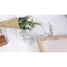 Tocado de boda de accesorios para el cabello nupcial de vid de cristal hecho a mano de plata