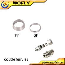 Dos anillos de metal línea de aire accesorios de acero inoxidable virola conjunta