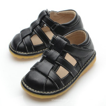 Solid Black Baby Boy Squeaky Sandals L132