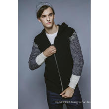 Fashion Knitting Men Hooded Cardigan with Zipper