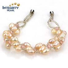 Natural Freshwater Women Pearl Bracelet 5mm Rice Crystal Pearl Bracelet