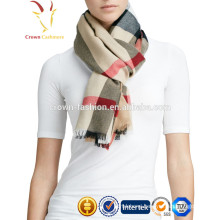 European style men and women Winter tassel grid cashmere scarf