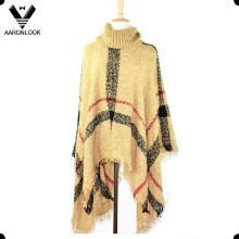 Мода петли пряжи плед вязать шаль большой размер пончо