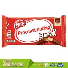 Material laminado logotipo personalizado impreso barras de chocolate de calidad alimentaria bolsa de embalaje al por mayor