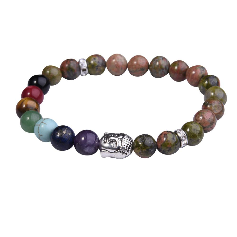 Pulsera de Unakite Buddha 7 Chakra Gemstone Alloy Beads Jewelry Bangle