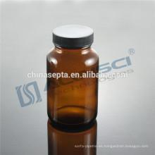Fabricación Amber Boston Round botella de vidrio de boca ancha con tapas