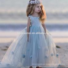 Frock Design Girl Summer Light Bule Hermoso vestido sin mangas Patrones de flores Tulle Flower Baby Girl Maxi Dress