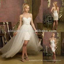 NY-2422 Kristall Perlen Spitze Cocktailkleid mit abnehmbarem Tüll Overskirt Hochzeitskleid