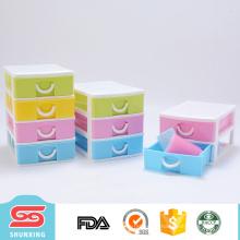 Colorido diseño multipropósito 4 capas de cajones de almacenamiento de plástico barato con el mejor precio