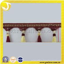 Barato cortina franja de borla utilizada para cojines recorte al por mayor de colores