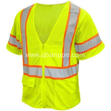 Short sleeve tool vest zipper reflective vest