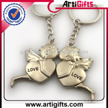 Wholesale cheap custom metal couple angel keyring