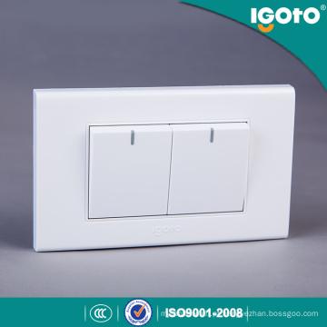 Igoto A1021 Produzido na fábrica padrão americano 118 * 75mm 2 Gang 1 Way Switch 2 Gang 2 Way Switch