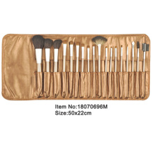 18pcs golden plastic handle aniamal/nylon hair makeup brush tool set with golden satin case