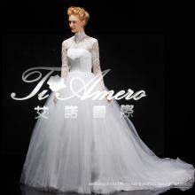 Вечно Элегантный Кружева Высокая Шея Белый Принцесса Свадебные Платья С Длинным Sleeve2014 Берта Свадебные С Часовня Поезд