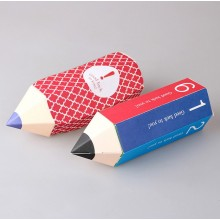 Pencil shaped snack paper box with print