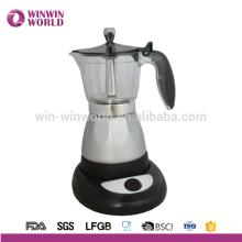 Moka Stovetop Cafeteira Espresso com Válvula de Segurança Italiana e Cabo de Proteção, Preto, 6 xícaras