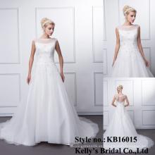 2016 appliqued el cordón rebordeado sin mangas del cordón que casa los vestidos de boda alibaba el vestido nupcial
