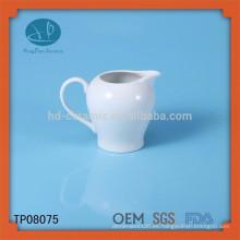 Pote de la leche de cerámica blanca de la alta calidad, tarro de cerámica modificado para requisitos particulares, botella de agua