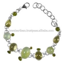 Diseño hecho a mano Prehnite y multi piedras preciosas 925 pulsera de plata de ley