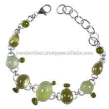 Handmade Design Prehnite And Multi Gemstone 925 Sterling Silver Bracelet