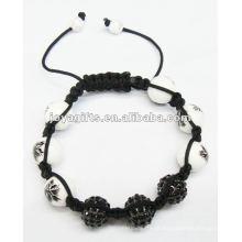 Pulseira de jóias batida, pulseira de esferas de cristal shamballa tecido à mão