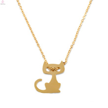 Custom Gift Personalised Gold Dainty Initial Cat Charm Pendant Necklace