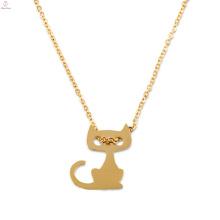 Presente personalizado personalizado ouro Dainty inicial gato charme pingente de colar
