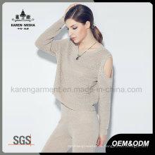 Karen Frauen stilvolle lange Ärmel aus der Schulter gestrickte Kleidung