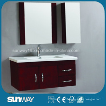 Wall Mounted Mirrored Wood Bathroom Vanity