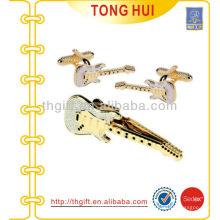 Guitarra Metal Tie barras y conjunto de regalo de mancuerna para accesorios de la ropa