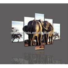 Peinture à l'huile imprimée d'éléphant naturel africain