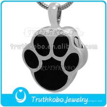 2015 acier inoxydable pour animaux de compagnie urne pendentif en argent patte forme charme en gros en acier inoxydable chien pied crémation bijoux