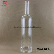 750ml runde Glasflasche mit dicker Unterlage (Siebdruck Etikett bedruckbar)