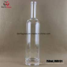 Bouteille en verre rond de 750 ml avec base épaisse (impression sérigraphique imprimable)