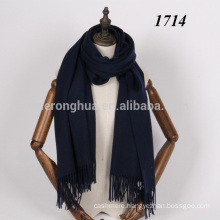 Navy deep blue color lambswool big wool scarf shawl