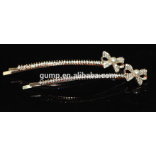 Shiny Cute Bow Rhinestone Barrette Pearl Bobby pin