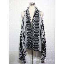 Женская мода Жаккардовые акриловые трикотажные зима теплая шаль жилет (YKY4496)