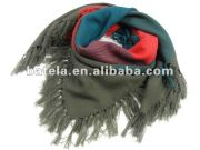 plaid colorful square scarf, warm and thicken kerchief