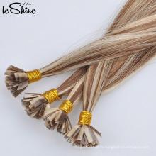 Vente en gros de cheveux ondulés pré-collés à pointe plate