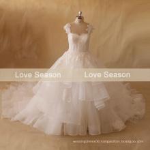 MRY079 100% Real original designer ruffled layers organza ivory lace wedding dress cathedral train lace wedding dress 2015