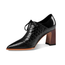 Stylish Women Lace up Block Heel High Shiny Cow Leather Shoes Lady Pointed Toe Pump with Lace Shoes Best Selling New