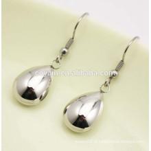 316L de aço inoxidável gota de água de prata longa dangle brincos para as mulheres